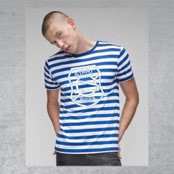 "BSG Stahl Riesa Fanshirt ""Spriped Logo"" blau/weiß"