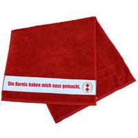 Handtuch rot mit Stick Schriftzug